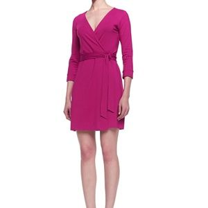 Diane Von Furstenberg Pink New Julian Wrap Dress
